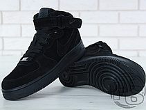 Мужские кроссовки Nike Air Force 1 Mid Suede Triple Black (с мехом) 315123-036, фото 3