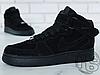 Мужские кроссовки Nike Air Force 1 Mid Suede Triple Black (с мехом) 315123-036, фото 4