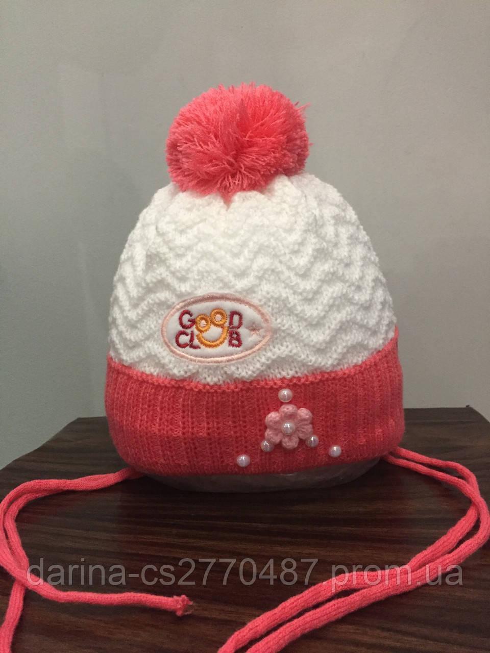 Зимняя шапка для девочки на завязках