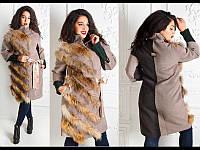 Зимнее кашемировое пальто с натуральным мехом енота
