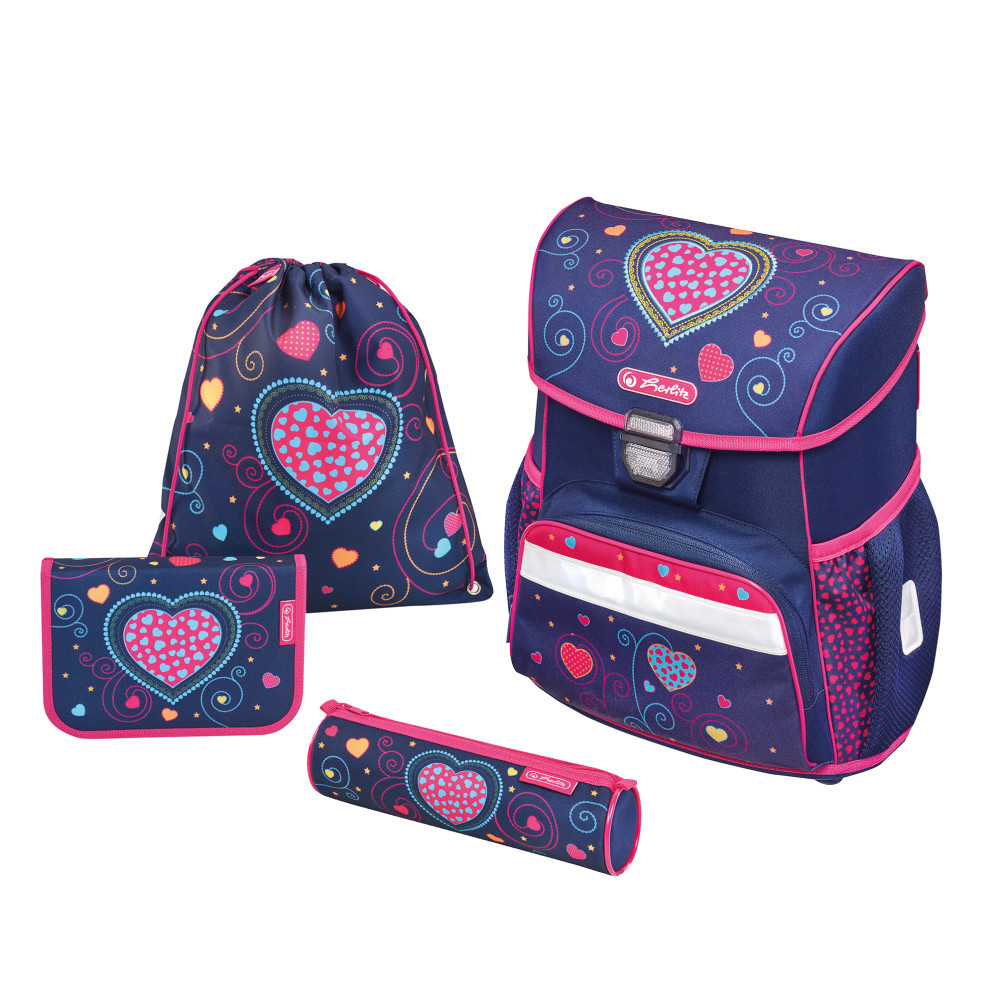 Ранец школьный укомплектованный Herlitz LOOP PLUS Hearts Blue (50013838)