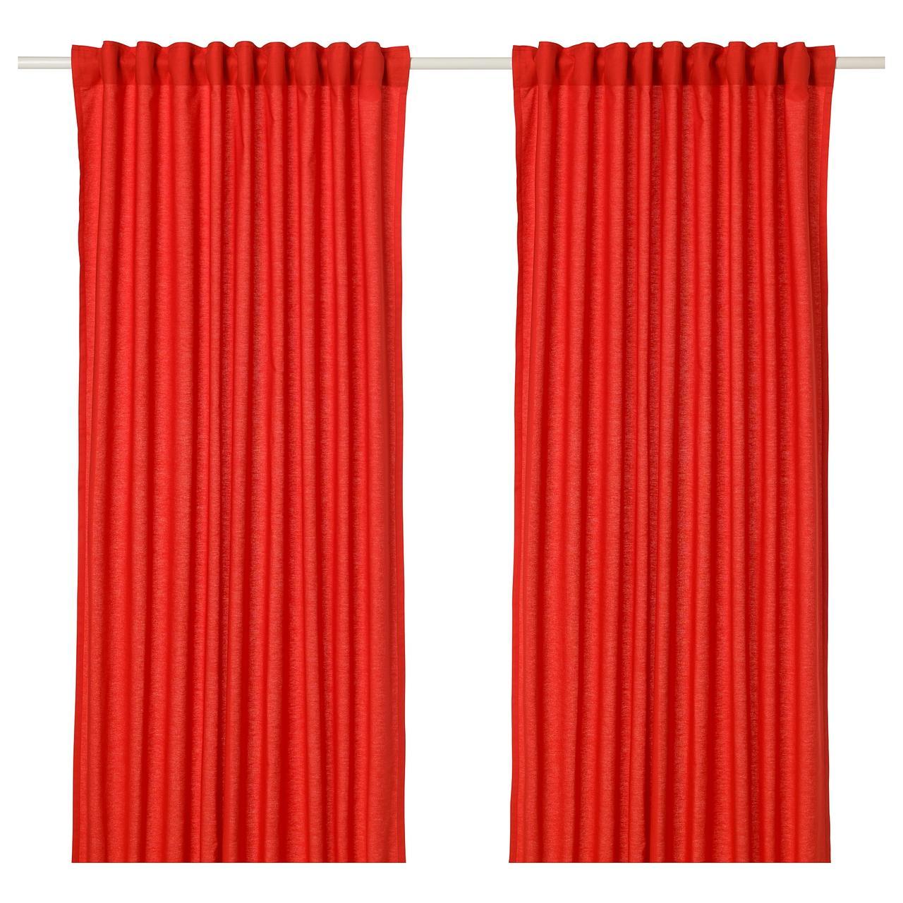 Гардины IKEA ANNALOUISA 145x300 см 2 шт красные 904.108.37