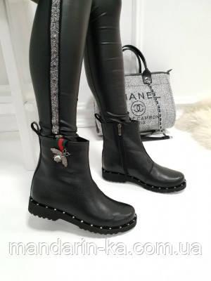 Женские ботинки Gucci Гуччи  черные  натуральная  кожа (реплика)