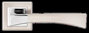 Ручка дверная на розетке MVM Tia - Z-1257 SN/CP (матовый никель/ полированный хром)