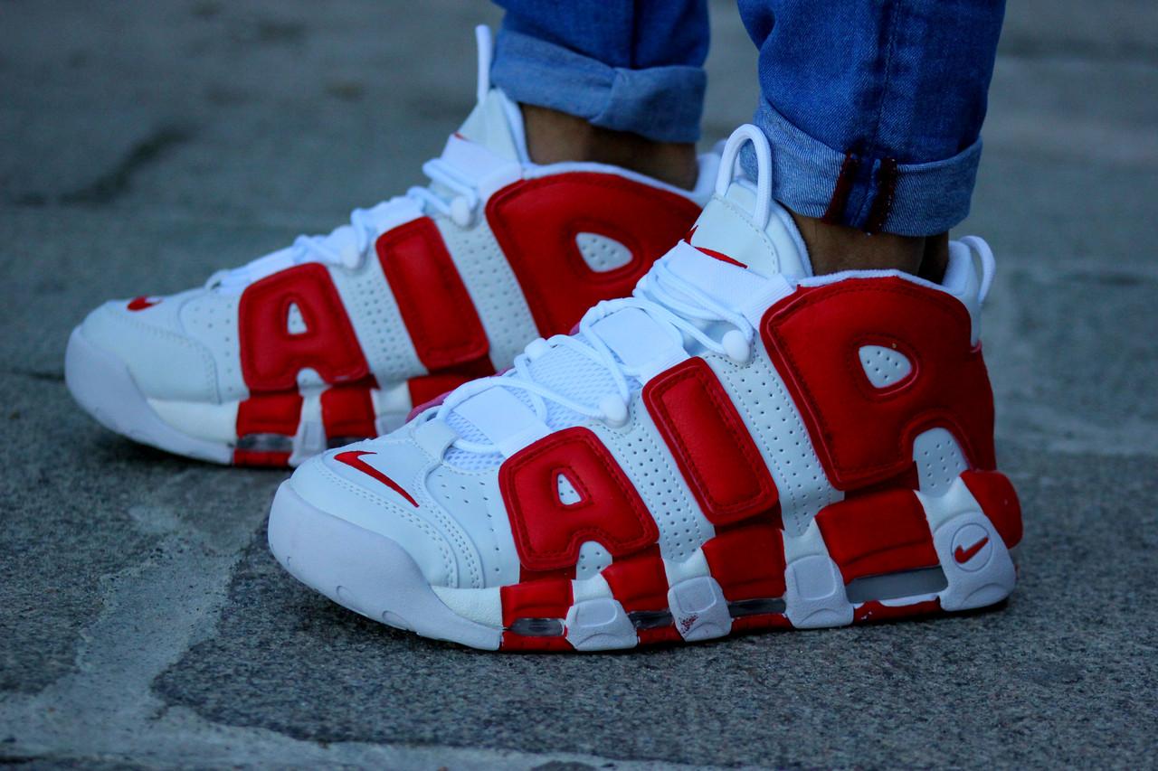 4ea239c6 Кроссовки мужские белые с красным Nike Air More Uptempo White/Red Найк Аир  Мор Аптемпо