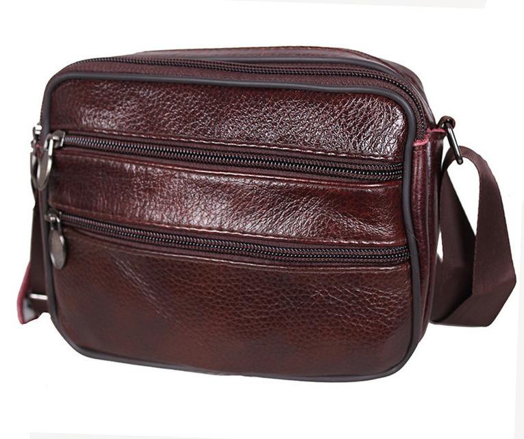 8c2cc53f9513 Кожаная мужская сумка Bon2355-1 коричневая барсетка через плечо натуральная  кожа 15х19х7см