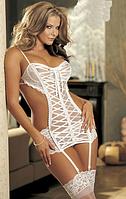 Эротическое сексуальное белье белое.Набор корсет+стринги+чулки