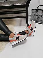 Женские  кроссовки New Balance  Нью Беленс бежевые   (реплика), фото 1