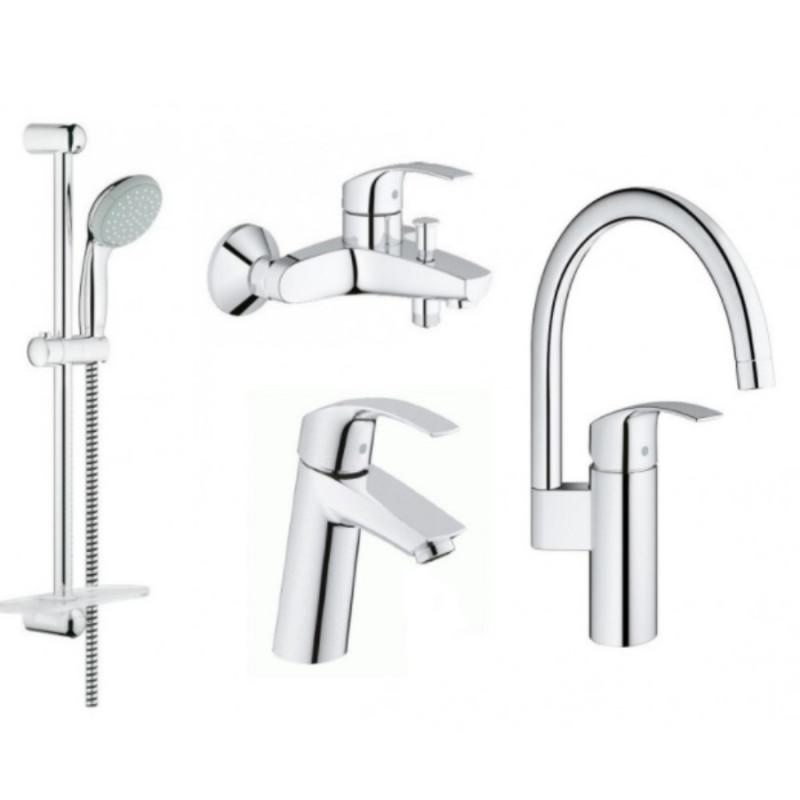 Grohe Eurosmart 123248MK набор смесителей кухни и ванной M-Size(23324001+33300002+27926001+33202002)