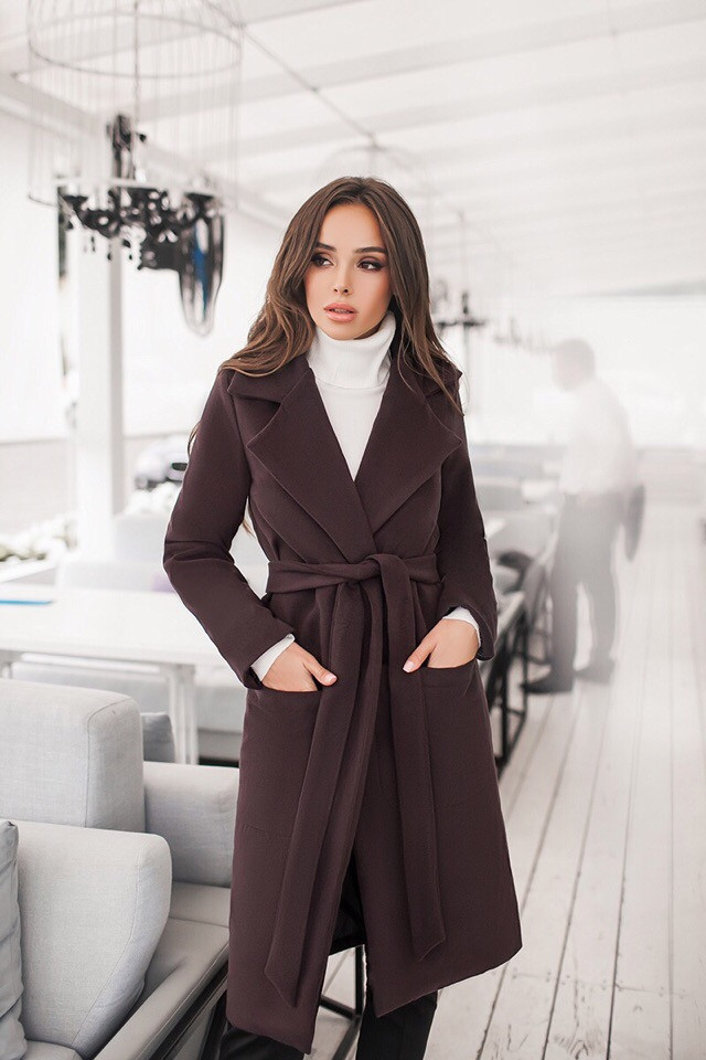 Женское кашемировое пальто на подкладке (р. 42-44, 44-46)