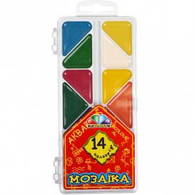 Акварель 14 цветов «Мозаика» пластик «Гамма» 16×7,5 см  312056