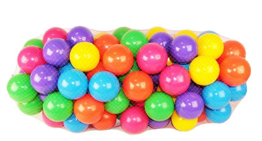 Набор мячей для игровых центров,сухого бассейна в сетке  (100 шт./ 80 мм.)