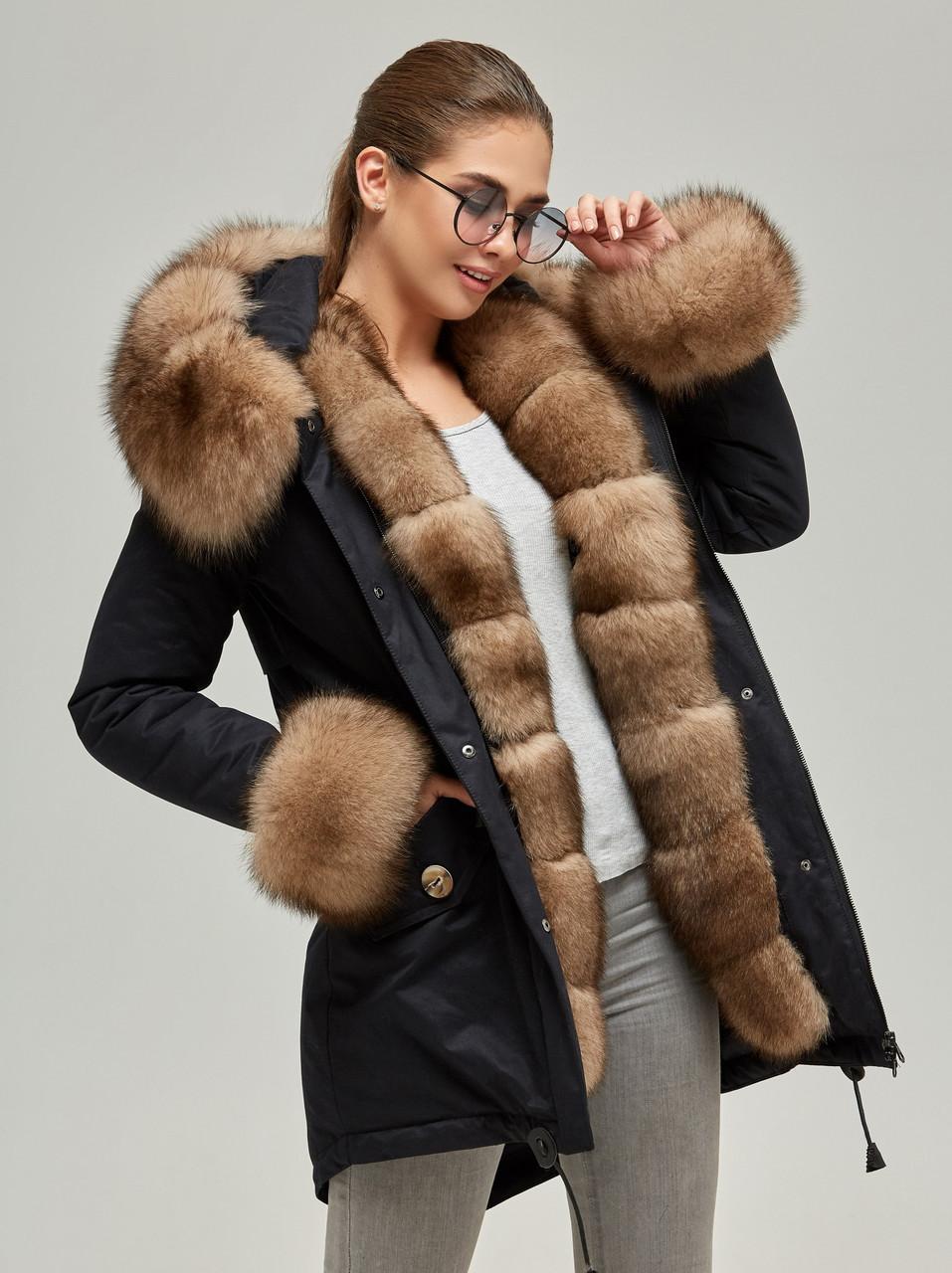 Парка с мехом женская зимняя куртка теплая удлиненная (песец)