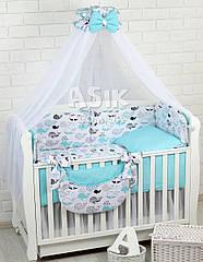 Комплект постельного белья Asik Киты бирюзово-чёрные 8 предметов (8-298)