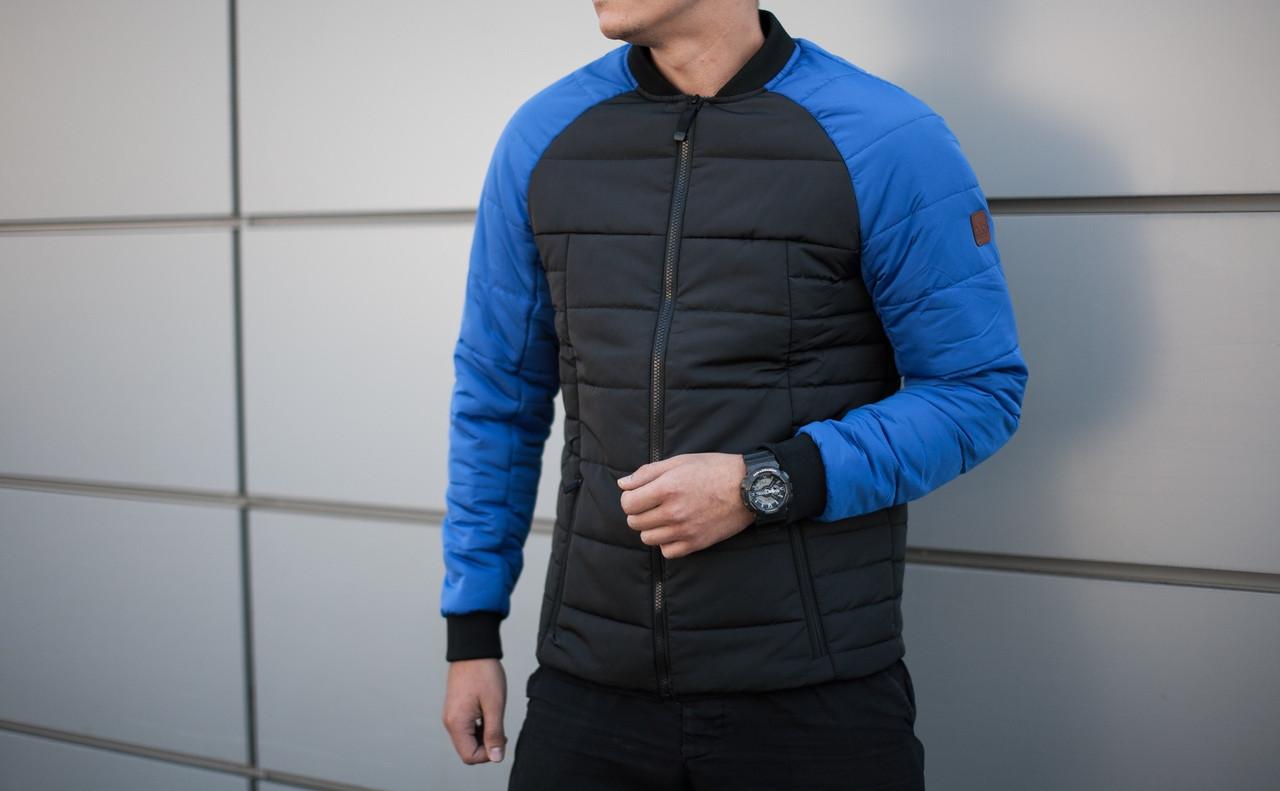 Куртка мужская Pobedov Jacket  бомбер ОРИГИНАЛ черная с синими рукавами