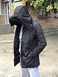 Куртка зимняя мужская D4485 черная с капюшоном, фото 6