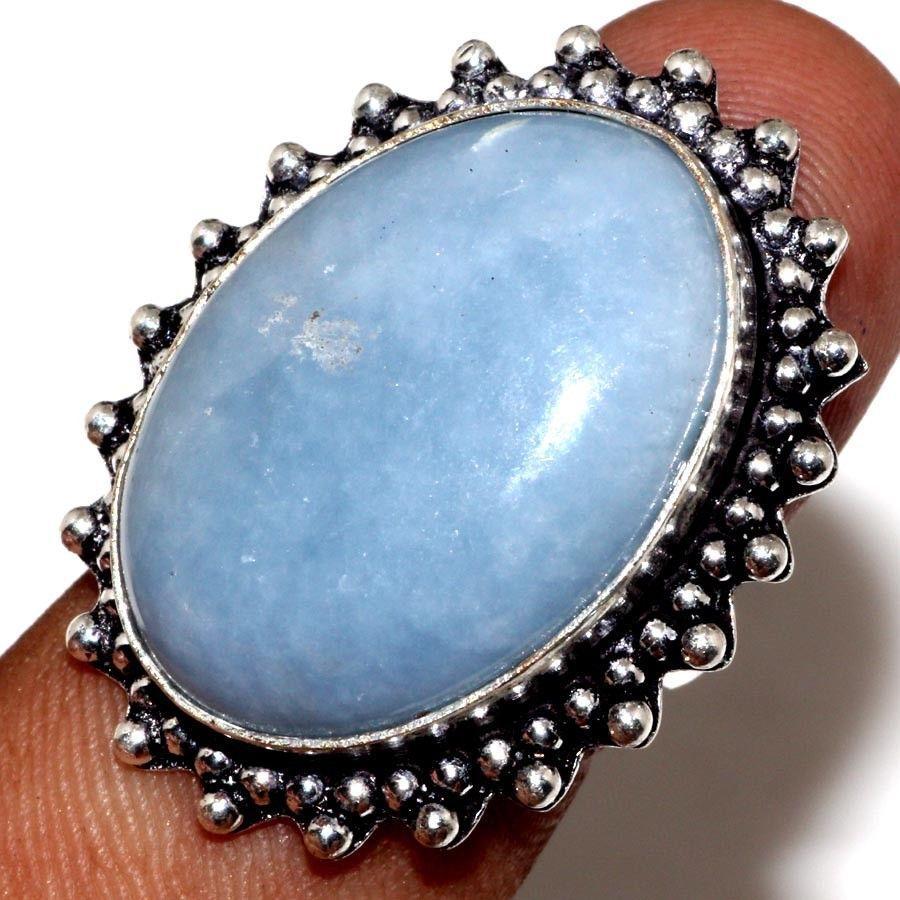 Красивое кольцо с камнем ангелит 16,8 размер в серебре. Природный ангелит. Индия