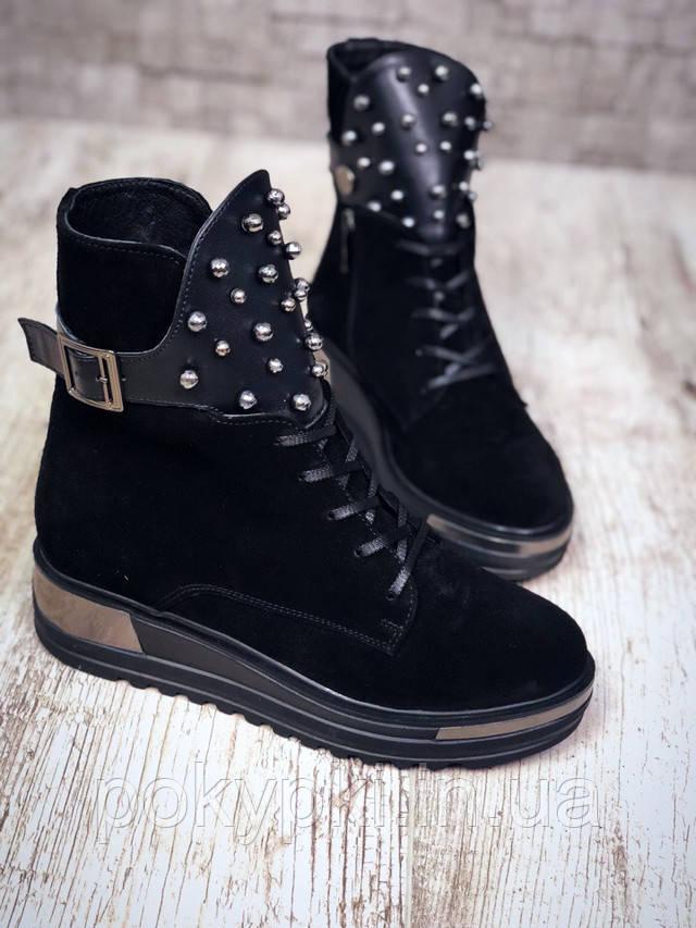 e137d51b Удобные ботинки женские зимние на меху толстая подошва замша+кожа шнурки  молния язычок с бусинами