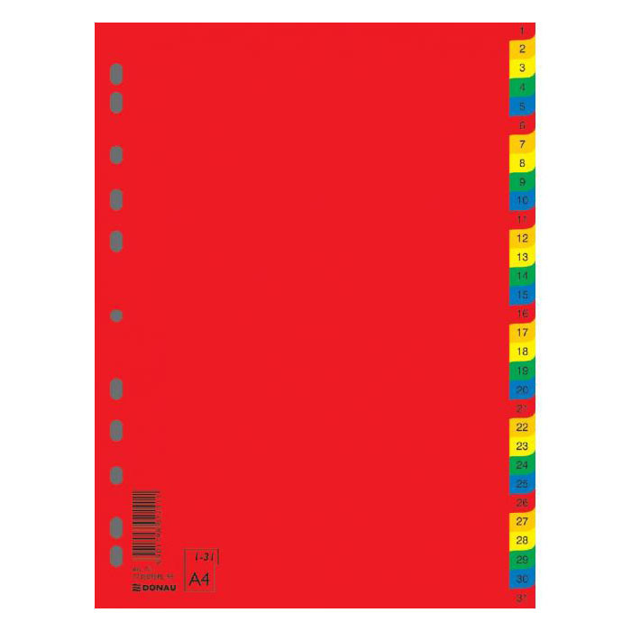 Разделители Donau А4 7736095PL-99 пластик 1-31 цифровых разделов разных цветов