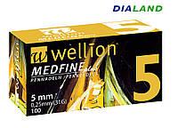 Иглы Веллион Wellion MEDFINE plus для шприц-ручек 0,25мм (31G)*5мм