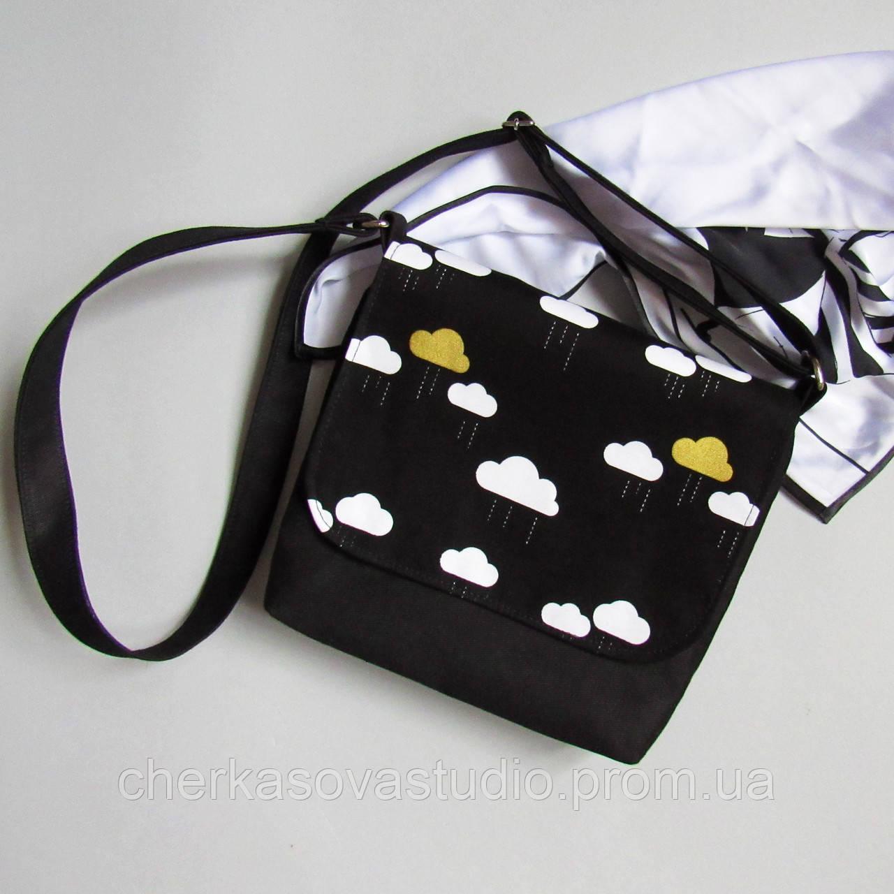 42e23f73a5b3 Сумочка женская на плечо текстиль черная с принтом облака золото -  Cherkasova Studio в Харькове