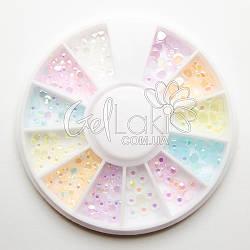 Карусель с разноцветными стразами для дизайна ногтей, K5