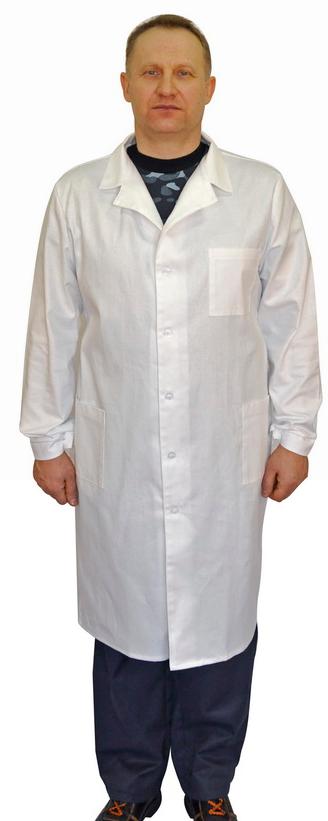 Халат рабочий белый, мужской, тк. габардин