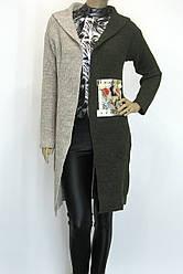 жіночий вязаний кардиган з капюшоном