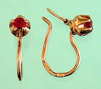 Золоті сережки з рубіном синтетичним
