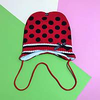 "Демисезонная шапочка ""Мікі"" (красная в черный горох) размер 42-44"