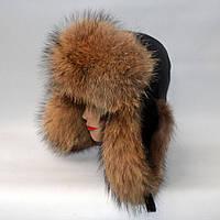 Мужская зимняя кожаная шапка ушанка из меха Енота