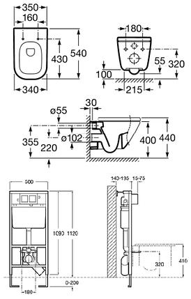 Комплект: Roca GAP подвесной унитаз с инсталляцией A34H478000+A890096001+A890090020, фото 2