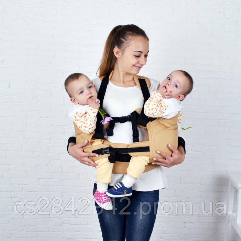 Ерго-рюкзак для близнюків Front Basic бежевый