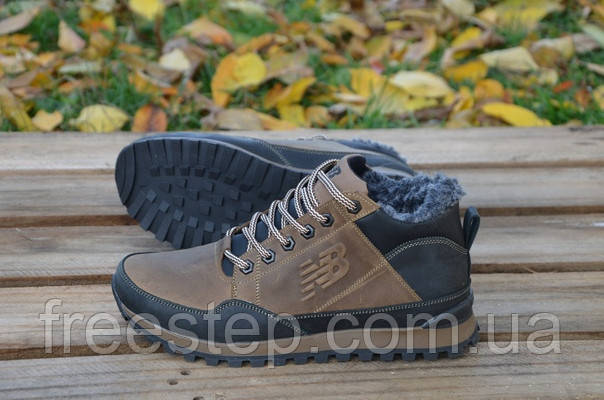 Зимние ботинки в стиле New Balance, натуральная шерсть, кожа, коричневые,  фото 1 9410d8d135f