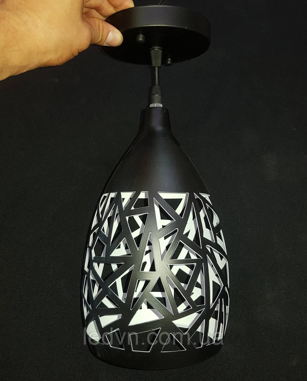 Подвесной металлический винтажный светильник на одну лампочку черный