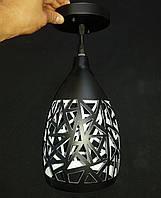 Подвесной металлический винтажный светильник на одну лампочку черный, фото 1