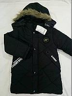 Дитячий демісезонний подовжена куртка на хлопчика р. 7-9 років чорний (еврозима)