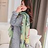 Женский большой шарф с тематическим рисунком и бахромой зеленый опт