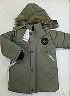 Детская демисезонная удлиненная куртка на мальчика р. 7-9 лет серый (еврозима)