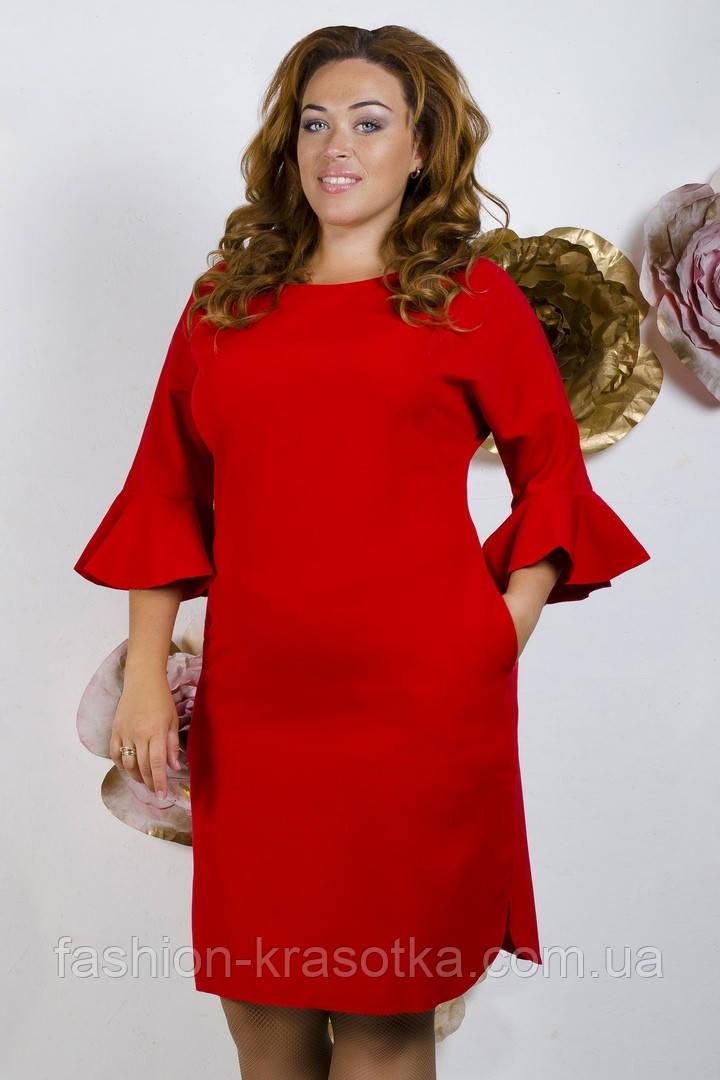 Модное молодежное платье ткань креп костюмка в  размерах 50-56
