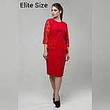 Нарядное женское платье костюмная ткань с гипюром раз. 48-56, фото 3