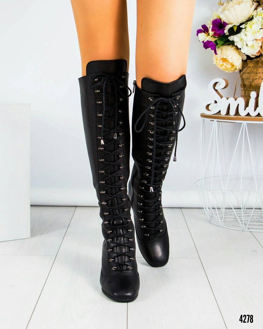 Ботфорты женские  на шнуровке  черные