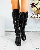 Ботфорты женские  на шнуровке  черные, фото 1