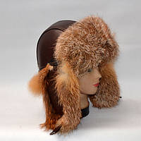 Мужская зимняя кожаная шапка ушанка из меха Лисицы