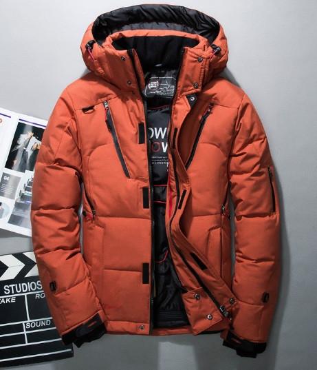 5eab411ba45d8 Модный оранжевый мужской пуховик, зимняя куртка на пуху с капюшоном -  Интернет-магазин одежды