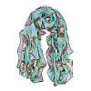 Женский легкий голубой шарф с рисунком в виде часов опт