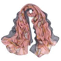 Женский розовый шарф с рисунком в виде часов опт