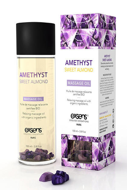 Массажное масло Relaxing Oil With Organic Ingredientes And Stones Amethyst Sweet Almond 100 ml.