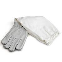 """Перчатки кожаные серые, с нарукавниками """"PU Leather"""", р-р XХL, фото 1"""