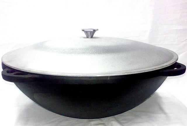 Казан чавунний для плову 22л з алюмінієвою кришкою «Сітон»